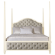 Bernhardt Savoy Place Queen Upholstered Poster Bed in Ivory