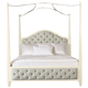Bernhardt Savoy Place Queen Upholstered Poster Bed with Canopy in Ivory