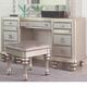 Coaster Furniture Bling Game 7 Drawer Vanity Desk in Platinum  Metallic 204187