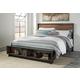 Stavani King Panel Storage Bed in Black/Brown