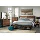 Stavani 4pc Panel Storage Bedroom Set in Black/Brown
