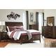 Evanburg 4pc Sleigh Storage Bedroom Set in Brown