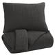 Bronx 3pc King Quilt Set in Black/Gray Q336003K