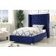Meridian Furniture Aiden Velvet Full Bed in Navy AidenNavy-F