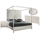 Bernhardt Domaine Blanc 4pc Upholstered Metal Canopy Bedroom Set in Tarnished Nickel