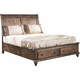 New Classic Furniture Fallbrook Cal King Storage Footboard Bed in Weathered Brown 00-446-200