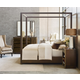 American Drew AD Modern Organics 4pc Freemont Canopy Bedroom Set in Smokey Quartz and Burnished Brass