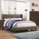Coaster Furniture Carrington Eastern King Upholstered Wing Bed in Walnut