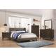 Coaster Furniture Carrington 4-Piece Upholstered Wing Bedroom Set in Walnut