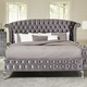 Coaster Furniture Deanna Upholstered Eastern King Platform Bed in Grey