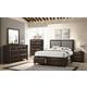 Acme Furniture Brenta 4PC Storage Bedroom Set in Fabric/Walnut