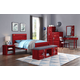 Acme Furniture Cargo 4pc Panel Bedroom Set in Red