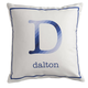 Personalized Initial Stripe Pillow, One Size, Blue