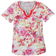 Floral V-Neck T-Shirt With Embroidery, One Size