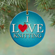 I Love Knitting Porcelain Ornament