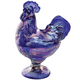 Carnival Blue Depression Style Glass Rooster Candy Dish, One Size
