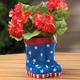 Patriotic Rain Boots Planter, One Size