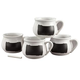 Ceramic Soup Mugs with Chalkboard, Set of 4, One Size