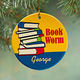 Personalized Book Worm Porcelain Ornament