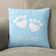 Personalized Paw Print Heart Pillow, One Size, Blue