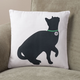 Begging Cat Silhouette Pillow, One Size