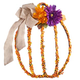 Pumpkin Grapevine Wreath with Burlap Ribbon, One Size