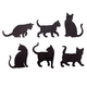 Cat Silhouette Fridge Magnets, Set of 6, One Size