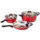 5 PC Red Stainless Cookware Set & Cookbook, One Size