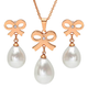 Faux Pearl Bow Earring and Necklace Set, One Size