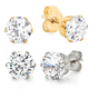 CZ Stud Earrings 2 Pair VR, One Size