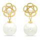 Faux Pearl & Flower Hanging Earrings, One Size