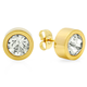 Round CZ Stud Earrings, One Size