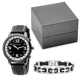 Men's Black and White Watch and Bracelet Set, One Size