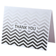 Chevron Thank You Note Cards Set of 25, One Size, Black