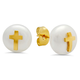 Faux Pearl Earrings with Cross, One Size