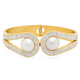 Faux Pearl and CZ Cuff Bracelet, One Size