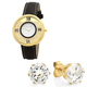 Women's Floating Crystal Watch and Earring Set, One Size