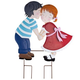 Kissing Couple Metal Yard Stake by Maple Lane Creations™, One Size
