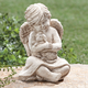 Angel with Dog Memorial Statue, One Size