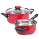 Red Stainless Steel Sauce Pans Set of 2 by HomeStyle Kitchen, One Size