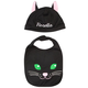 Personalized Black Cat Hat and Bib Set, One Size