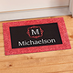 Personalized Red Damask Doormat