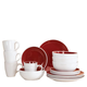 Chicstone Red/White Stoneware 16 Pieces, One Size