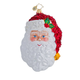 Santa Face Glass Ornament, One Size