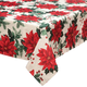 Poinsettia Metallic Fabric Tablecloth, One Size