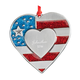 Personalized Pewter Patriotic Heart Ornament, One Size