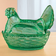 Green Depression Style Glass Hen Candy Dish