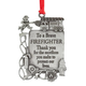 Firefighter Pewter Ornament, One Size