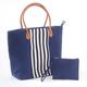 2 Pc Striped Trim Navy Bag, One Size