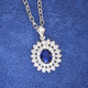 Simulated Sapphire and Diamond Necklace, One Size